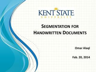 Segmentation for  Handwritten Documents