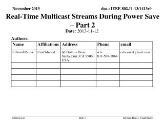 Real-Time Multicast Streams During Power Save – Part 2