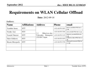 Requirements on WLAN Cellular Offload