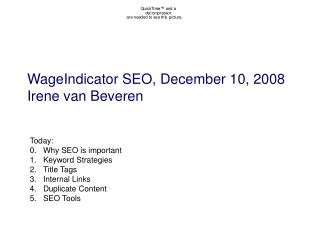 WageIndicator SEO, December 10, 2008 Irene van Beveren