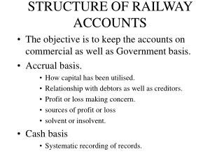 STRUCTURE OF RAILWAY ACCOUNTS