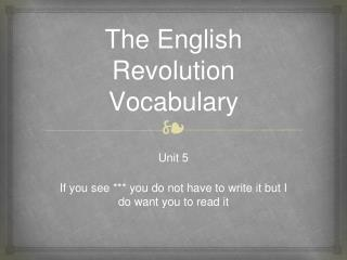 The English Revolution Vocabulary