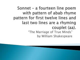 """""""The Marriage of True Minds""""  by William Shakespeare"""
