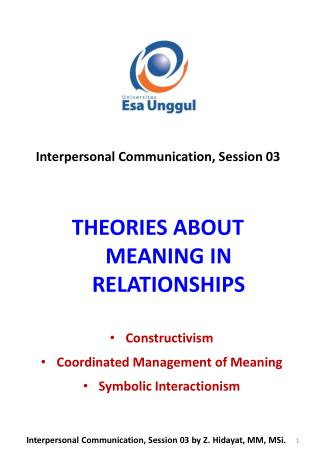 THEORIES ABOUT MEANING IN RELATIONSHIPS
