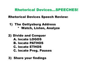 Rhetorical  Devices�SPEECHES!