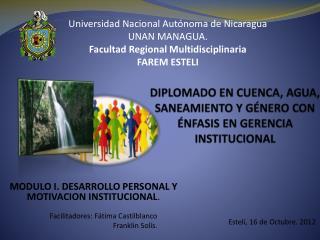 DIPLOMADO EN CUENCA, AGUA, SANEAMIENTO Y G�NERO CON �NFASIS EN GERENCIA  INSTITUCIONAL