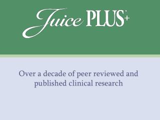 Over a decade of peer reviewed and published clinical research