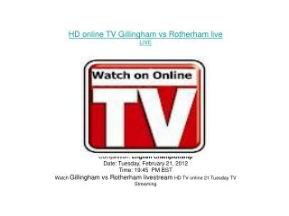 Gillingham vs Rotherham LIVE FLC DIRECT TV Streaming