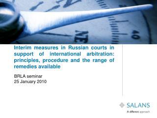 BRLA seminar 25 January 2010