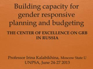 Building  capacity for gender responsive planning and budgeting