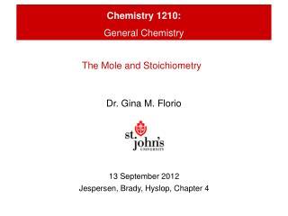 Chemistry 1210: General  Chemistry
