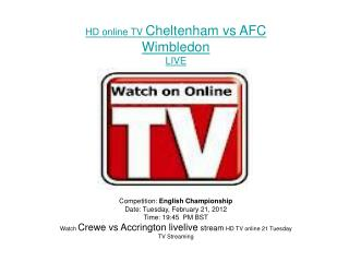 Cheltenham vs AFC Wimbledon LIVE FLC DIRECT TV Streaming