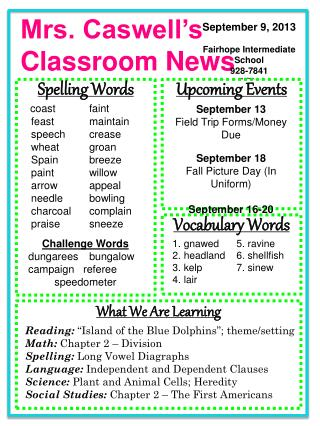 Mrs. Caswell's   Classroom News