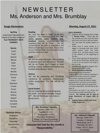 NEWSLETTER Ms. Anderson and Mrs. Brumblay