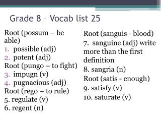 Grade 8 – Vocab list  25