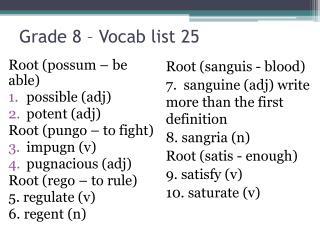 Grade 8 – Vocab list  25