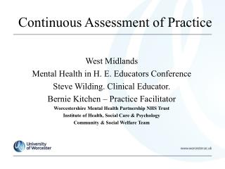 Continuous Assessment of Practice