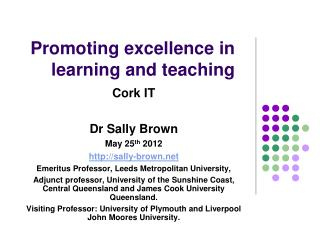Promoting excellence in learning and teaching