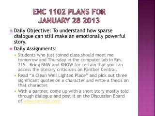 ENC 1102 Plans for  january  28 2013