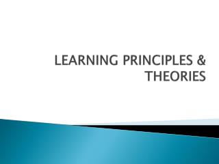 LEARNING PRINCIPLES & THEORIES