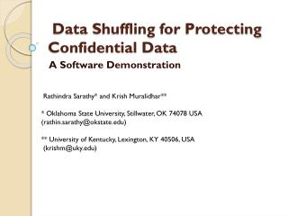 Data  Shuffling  for  Protecting Confidential Data