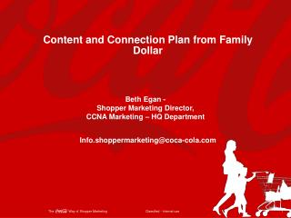 Content and Connection Plan from Family Dollar