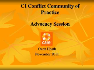CI Conflict Community of Practice Advocacy Session