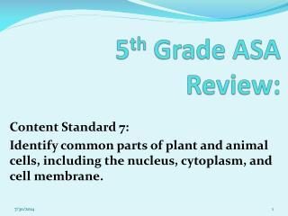 5 th  Grade ASA Review: