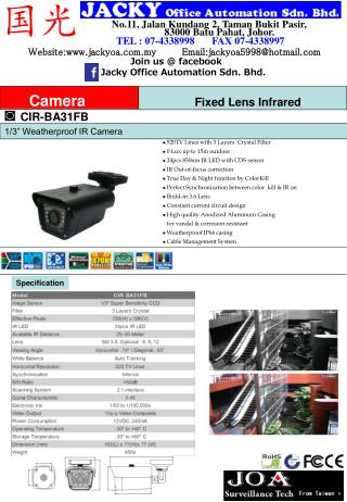 520TV Lines with 3 Layers  Crystal Filter  0 Lux up to 15m outdoor