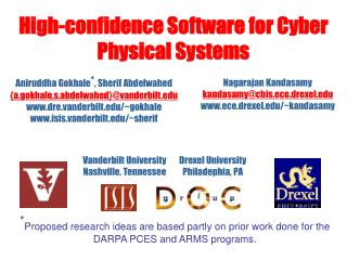 High-confidence Software for Cyber Physical Systems