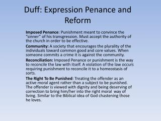 Duff: Expression Penance and Reform