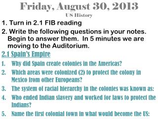 Friday, August 30, 2013 US History