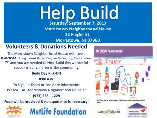 Saturday, September 7, 2013 Morristown Neighborhood House  12 Flagler St. Morristown, NJ 07960