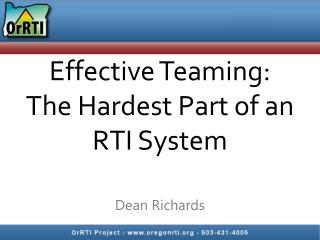 Effective Teaming: The Hardest Part of an RTI System