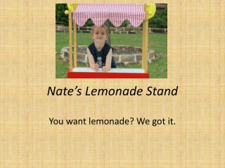 Nate�s Lemonade Stand