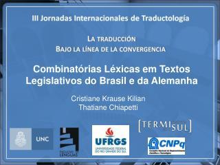 Combinat�rias L�xicas em Textos Legislativos do Brasil e da Alemanha