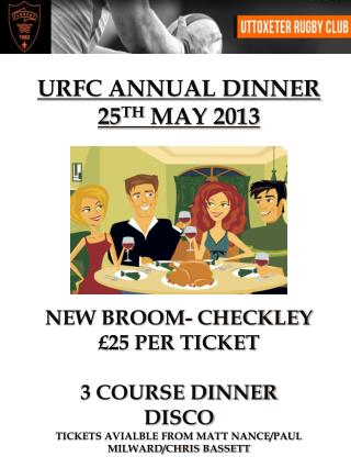 URFC  ANNUAL DINNER 25 TH  MAY 2013 NEW BROOM- CHECKLEY £25 PER TICKET 3 COURSE DINNER DISCO