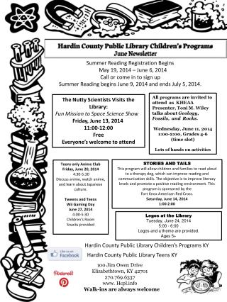 Hardin County Public Library Children's Programs June Newsletter