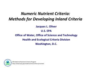 Numeric Nutrient Criteria: Methods for Developing Inland Criteria