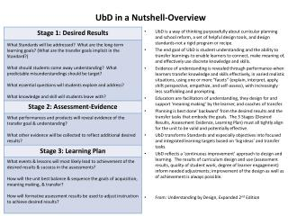 UbD  in a Nutshell-Overview