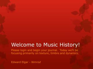 Welcome to Music History!