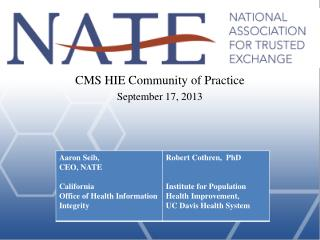 CMS HIE Community of Practice September 17, 2013