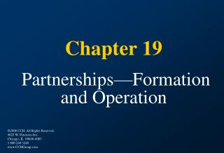 Chapter 19   Partnerships Formation and Operation