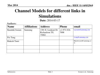 Channel Models for different links in Simulations
