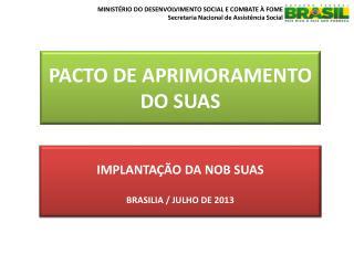 IMPLANTAÇÃO DA NOB SUAS BRASILIA / JULHO DE 2013
