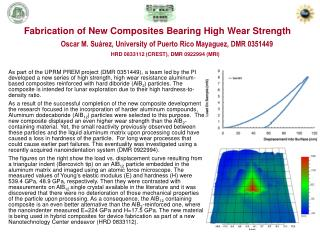 Fabrication of New Composites Bearing High Wear Strength
