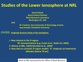 Studies of the Lower Ionosphere at NRL