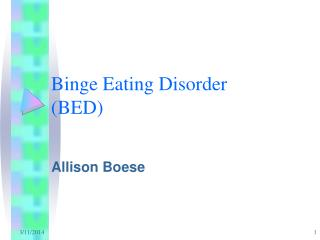 Binge Eating Disorder BED