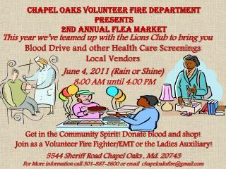 Chapel Oaks Volunteer Fire Department  Presents 2nd Annual Flea Market