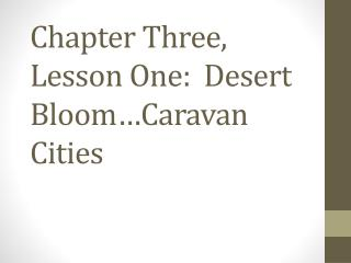 Chapter  Three,  Lesson One:   Desert Bloom…Caravan Cities